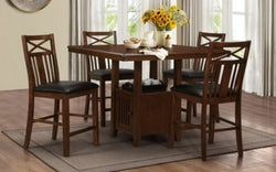FurnitureMattressDirect- Solid Wood Pub Set with 4 chairs (Walnut)01