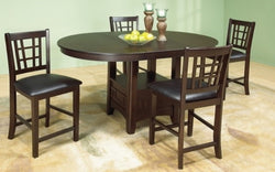 FurnitureMattressDirect- Solid Wood Pub Set with 4 chairs with 18 Butterfly Leaf (Walnut)