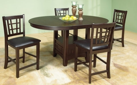 "FurnitureMattressDirect- Solid Wood Pub Set with 4 chairs with 18"" Butterfly Leaf  in Walnut BR-PS101"