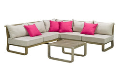 FurnitureMattressDirect- Solid Wood Sectional Set with Centre Table (Natural & Beige)