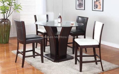 FurnitureMattressDirect- Solid wood and Glass Top Pub set with 4 Chairs BR-PS100
