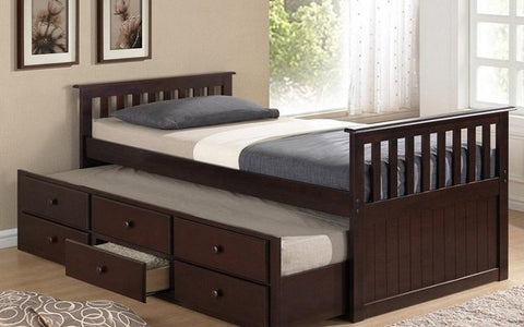 Image of FurnitureMattressDirect- Trundle Bed with Drawers - Espresso01