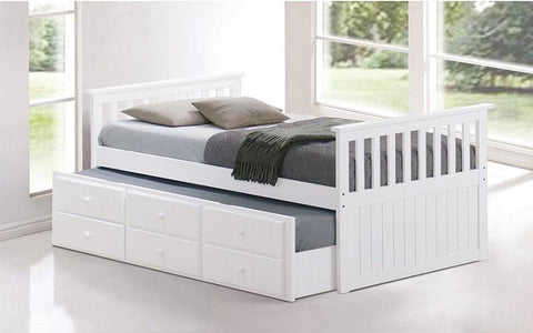 Image of FurnitureMattressDirect- Trundle Bed with Drawers - White01