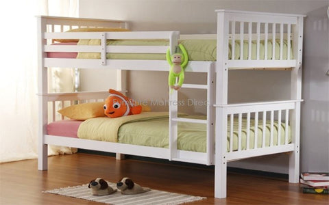 FurnitureMattressDirect- BUNK BED-TWIN OVER TWIN DETACHABLE SOLID WOOD BUNK BED - WHITE-LSSSS2