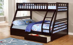 FurnitureMattressDirect- TwinDouble Detachable Solid Wood Bunk Bed with 2 Drawers - (Espresso)