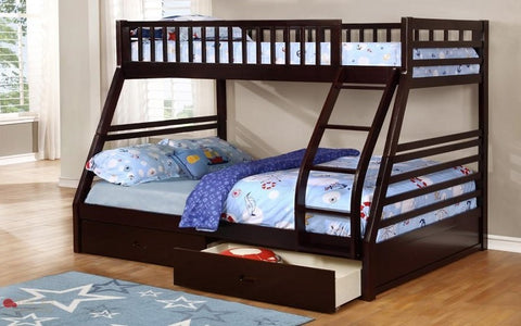 FurnitureMattressDirect- BUNK BED- Twin over double with 2 drawers solid wood-Espresso A18
