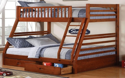 FurnitureMattressDirect- Bunk Bed - Twin over Double with 2 Drawers Solid Wood - Honey A16E