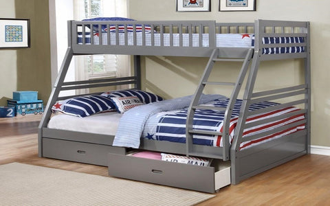 FurnitureMattressDirect- Bunk Bed - Twin over Double with 2 Drawers Solid Wood - Grey- Pre-Order Only A17