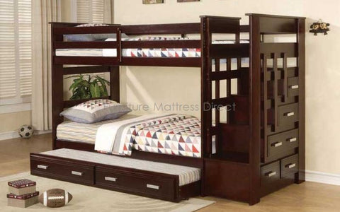 FurnitureMattressDirect- Twin/Twin Bunk Bed with Stairway, Trundle and Drawers ESPRESSO - Pre-Order Only- LSSSS5