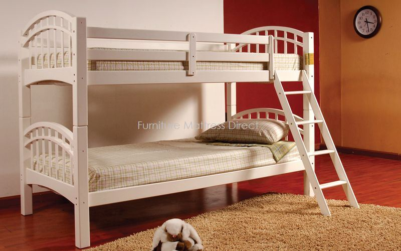 FurnitureMattressDirect- Twin Twin Detachable SolidWood Bunk Bed (White)