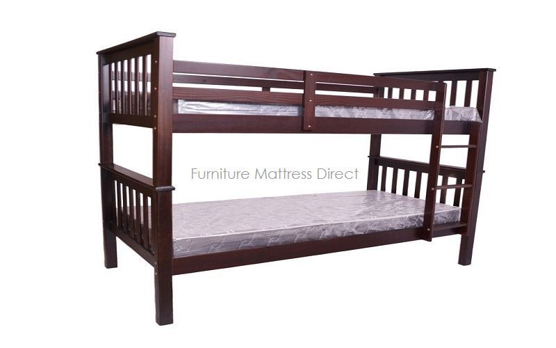 FurnitureMattressDirect- Bunk Bed- Twin over Twin Detachable Solid Wood Bunk Bed in Espresso - LSSSS4