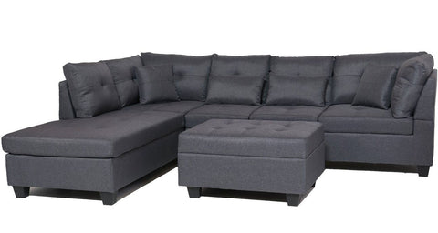 Image of FurnitureMattressDirect⁽ᴰᵉᵃˡˢ⁾- Sectional Set with Ottoman 1