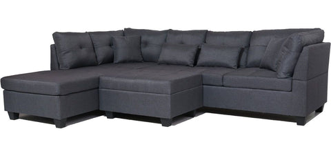 Image of FurnitureMattressDirect⁽ᴰᵉᵃˡˢ⁾- Sectional Set with Ottoman 4