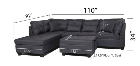FurnitureMattressDirect⁽ᴰᵉᵃˡˢ⁾- Sectional Set with Ottoman 6