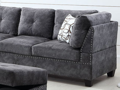Tufted Sectional in Grey