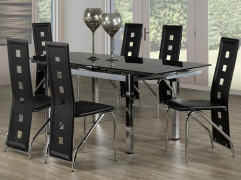 FURNITUREMATTRESSDIRECT-KITCHEN SET WITH TEMPERED GLASS WITH BLACK LEATHER CHAIR- 7PC H-KS160