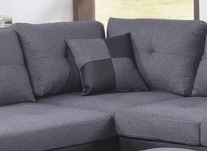 SECTIONAL SET WITH CHAISE AND OTTOMAN (GREY & BLACK)
