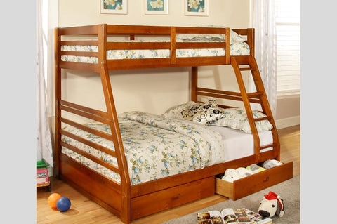 Twin Over Double Bunk Bed-Honey