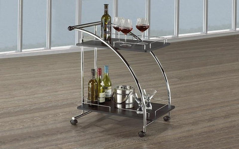 Image of FURNITUREMATTRESSDIRECT-Bar Serving Cart - Chrome | Wood E-PS113
