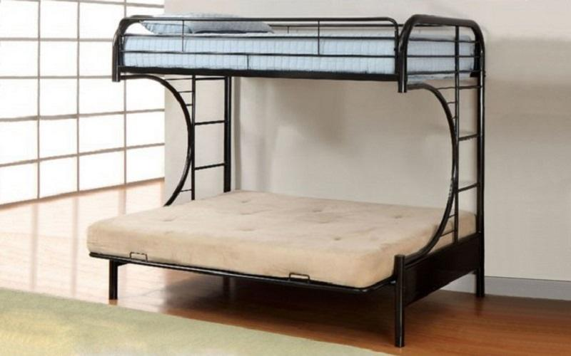 FurnitureMattressDirect - Futon Bunk Bed - Twin over Double with Metal - Black | White | Grey A23