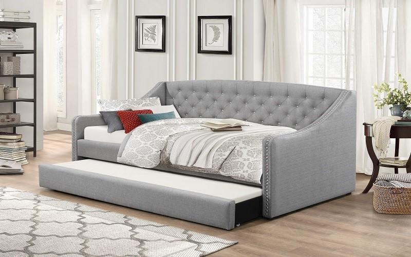 FURNITUREMATTRESSDIRECT-FABRIC DAY BED WITH NAILHEAD ACCENTS AND TWIN TRUNDLE - GREY A-TB111