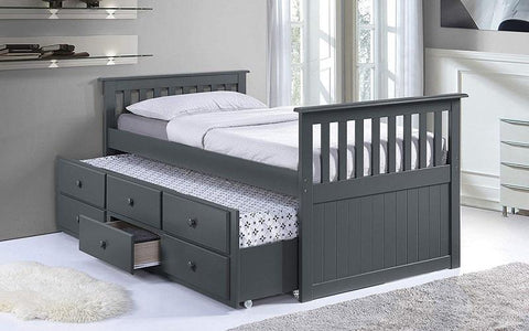 FURNITUREMATTRESSDIRECT-TRUNDLE BED WITH DRAWERS - GREY A-TB109