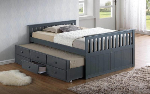 FURNITUREMATTRESSDIRECT-TRUNDLE BED WITH DRAWERS - GREY A-TB110