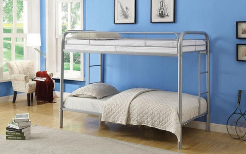 FurnitureMattressDirect-Bunk Bed - Twin over Twin with Metal - Black | White | Grey A25