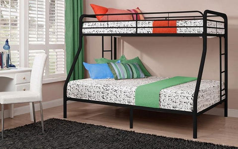 Image of FurnitureMattressDirect-Bunk Bed - Twin over Double with Metal - Black | White | Grey A26