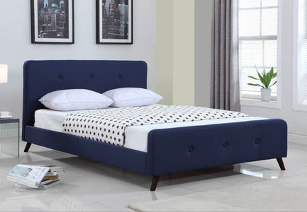 FurnitureMattressDirect-Platform Bed with Button-Tufted Fabric - Blue A96