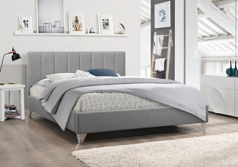 Fabulous Platform Bed With Vertical Tufted Fabric And Chrome Legs Grey Caraccident5 Cool Chair Designs And Ideas Caraccident5Info