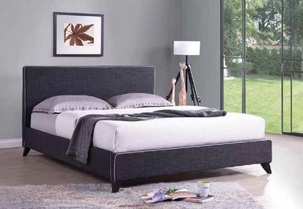FurnitureMattressDirect-Platform Bed with Linen Style Fabric - Charcoal-A76