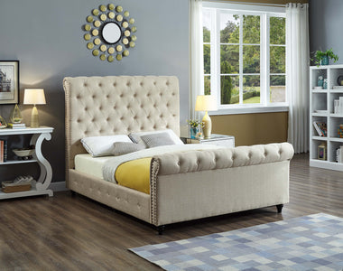 FurnitureMattressDirect-Platform Sleigh Bed with Button Tufted Linen Style Fabric - Beige A73