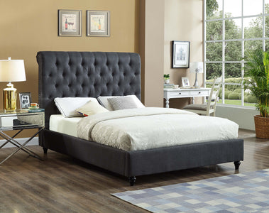 FurnitureMattressDirect-Platform Bed with Button Tufted Linen Style Fabric - Charcoal -A72