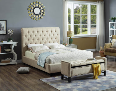 FurnitureMattressDirect-Platform Bed with Button Tufted Linen Style Fabric - Beige