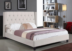 FurnitureMattressDirect-Platform Bed with Button Tufted Linen Style Fabric - Ivory A68