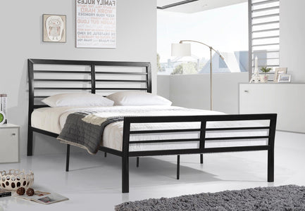 FurnitureMattressDirect-Platform Bed with Metal Frame - Black A67