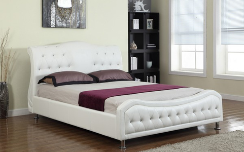 FurnitureMattressDirect-Platform Bed Bonded Leather with Jewels - White A66