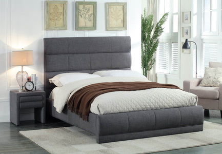 FurnitureMattressDirect-Platform Bed with Linen Style Fabric - Grey A64