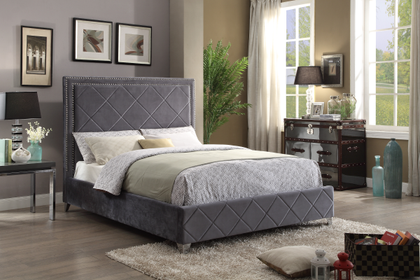 FurnitureMattressDirect-Platform Bed with Velvet Fabric - Grey A63