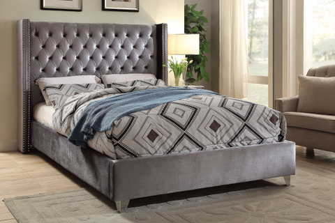 FurnitureMattressDirect-Platform Bed with Velvet Fabric - Grey A62