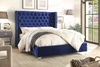 FurnitureMattressDirect-Platform Bed with Velvet Fabric -  Blue Velvet Fabric With Nail head Details A61