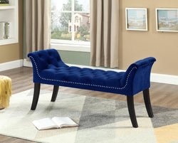 Bench With Blue Velvet Finish