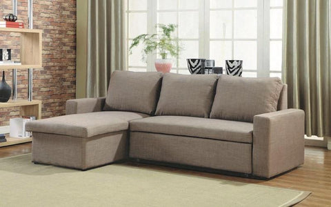 FurnitureMattressDirect-LINEN SECTIONAL SOFA BED WITH REVERSIBLE CHAISE - BROWN A117