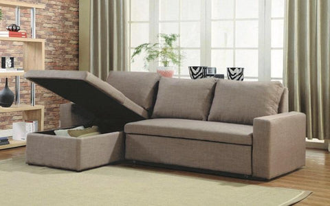 Image of FurnitureMattressDirect-LINEN SECTIONAL SOFA BED WITH REVERSIBLE CHAISE - BROWN A117