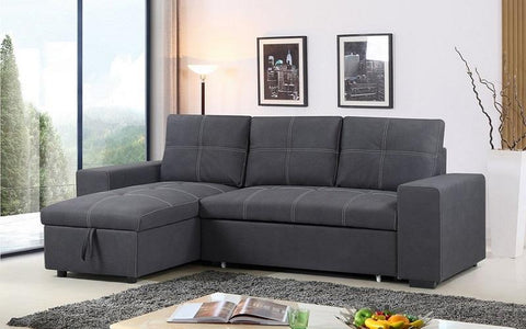 Image of FURNITUREMATTRESSDIRECT-ELEPHANT SKIN SECTIONAL SOFA BED WITH REVERSIBLE CHAISE - GREY A124