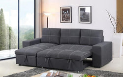 FURNITUREMATTRESSDIRECT-ELEPHANT SKIN SECTIONAL SOFA BED WITH REVERSIBLE CHAISE - GREY A124