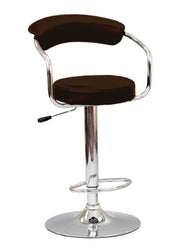 FURNITUREMATTRESSDIRECT-BAR STOOL WITH CURVED BACK & 360° SWIVEL LEATHER SEAT IN  BROWN D-BS123