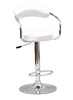 FURNITUREMATTRESSDIRECT-BAR STOOL WITH CURVED BACK & 360° SWIVEL LEATHER SEAT IN WHITE D-BS121