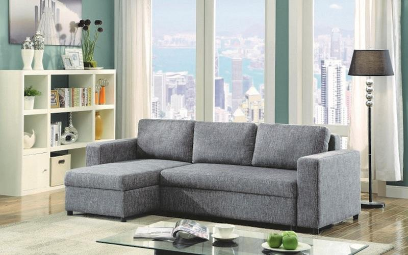 Brilliant Linen Sectional Sofa Bed With Reversible Chaise Grey Gmtry Best Dining Table And Chair Ideas Images Gmtryco